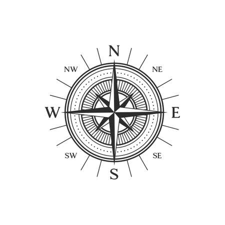 Wind-rose navigation symbol isolated compass sign in black and white. Vector topography instrument, orientation and direction pointing object with longitude and latitude dial, marine navigation symbol Vettoriali
