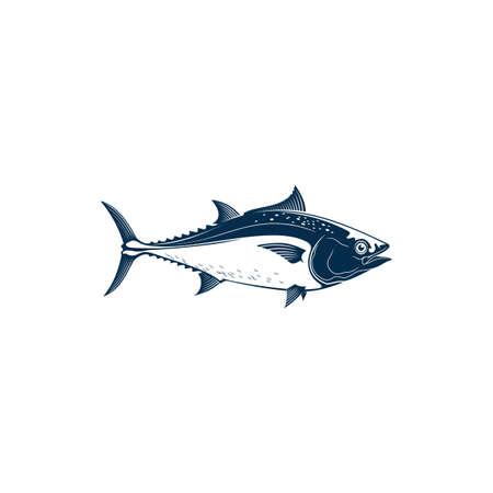 Bluefin tuna, blackfin longtail yellowfin, fishing sport mascot isolated. Vector tuna saltwater fish icon. Tunny, tribe Thunnini, Scombridae mackerel. Large and active predatory schooling fish