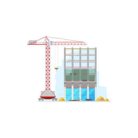 Tall office building construction isolated facade and lifting crane icon. Vector machinery and stop signs, piles of build materials. House construction site, store warehouse or office building