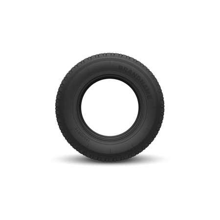 Vehicle black rubber tire isolated mockup. Vector round car wheel, automobile rim Stock Illustratie