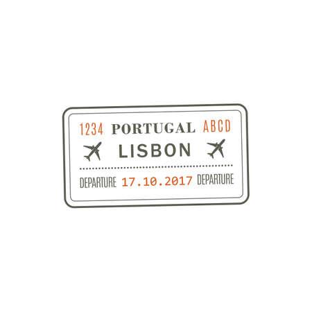 Portugal departure visa, passport control stamp vector isolated icon. Destination insignia, Lisbon city destination