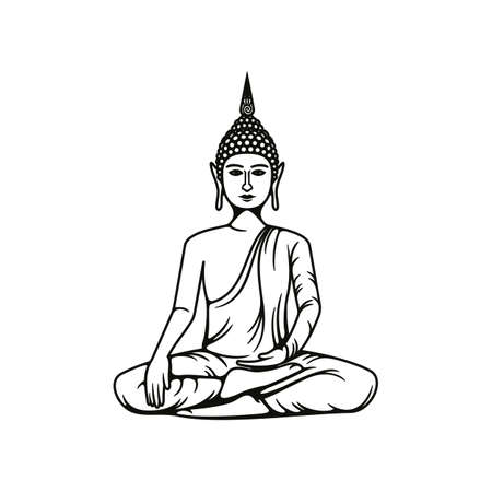 Buddha meditation isolated vector icon, Buddhism religious symbol, Buddhist Hinduism Dharma religion, Buddha statue in lotus posture outline monochrome illustration Иллюстрация
