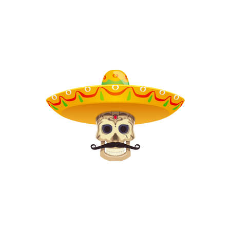 Skull with mustaches and sombrero hat isolated Dia de los muertos mexican holiday attributes. Vector Cinco de Mayo holiday objects, fiesta party attributes. Dead mariachi musician or charro cowboy