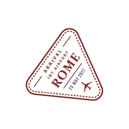 Arrival visa to Rome international airport, vector isolated triangular stamp icon, Italy destination Illustration