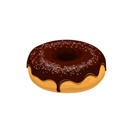 Donut with chocolate topping isolated. Vector donut cake with brown glaze and sugar