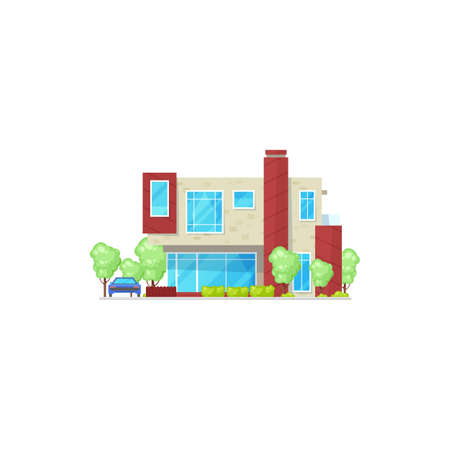 Modern country house with parked vehicle isolated realistic icon. Vector stylish building, home on rent or sale, mansion in chalet style. Glass panoramic windows, trees and bushes, townhouse cottage