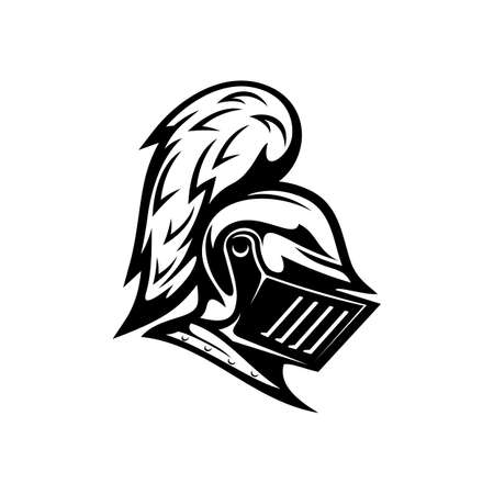 Renaissance helmet isolated medieval royal knight armor monochrome icon. Vector protection and security symbol, metal hero head mask with vizor and plumage. Retro soldier mask, armed spartan gladiator Archivio Fotografico - 151332498