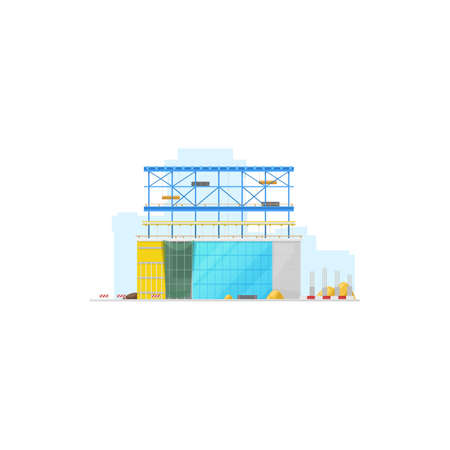 House construction site, store warehouse or office building isolated icon. Vector modern skyscraper construction, lifting blocks and glass windows. Industrial project, process of real estate building Ilustracja