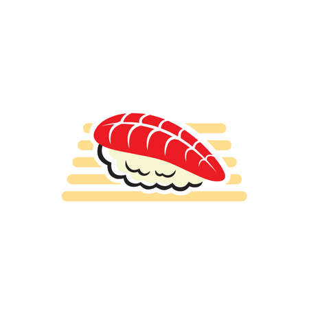 Nigiri sushi with fish and rice, Japanese cuisine food. Vector salmon slice on rice at wooden board