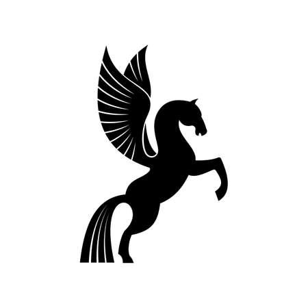 Mythical pegasus isolated winged horse. Vector heraldic animal, heraldry emblem, flying stallion Vettoriali