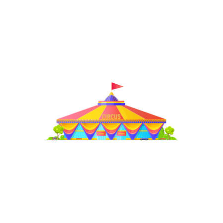 Chapito circus tent with striped roof and flag on top isolated building. Vector awning icon, facade of entertainment building with rees and vehicles. Entrance and billboard, amusement fair