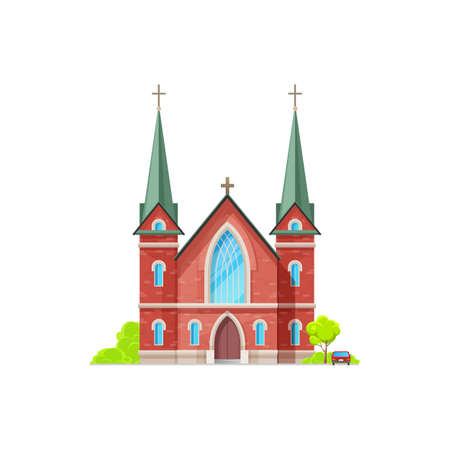 Christian church isolated catholic chapel of red brick. Vector holly place to hold funeral and wedding ceremonies, exterior with trees and vehicle. Cathedral or monastery evangelica or orthodox facade