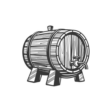 Barrel with tap, wine or beer drinks keg isolated monochrome icon. Vector tank with winery products, retro container on wood stand, oak cask. Barrel with tap or faucet, alcohol drinks keg