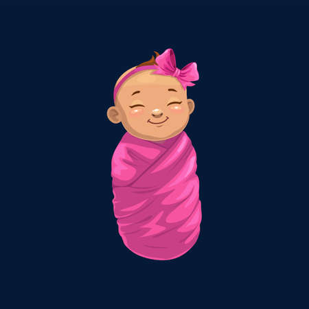 Newborn girl in pink wrap isolated baby shower symbol. Vector sleeping child with bow on head, infant swaddled in violet wrap, caucasian child. Young human child wrapped in blanket, innocent face