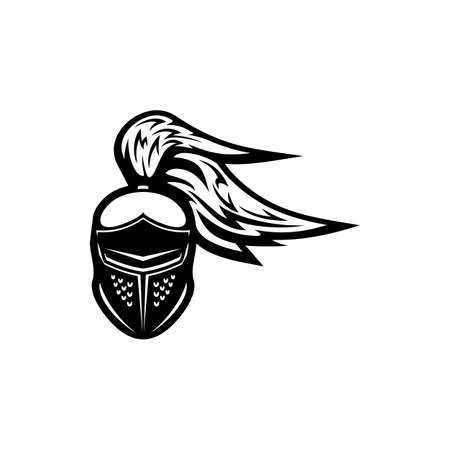 Gladiator helmet with plumes isolated monochrome icon. Vector crusader headgear, medieval knight head, sport mascot emblem. Ancient protection cap with feathers, spartan military armor, royal guard