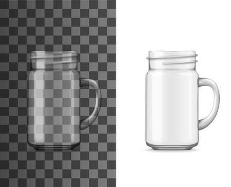 Glass jar with handle realistic vector mockup. Isolated transparent drinking cup or mug, empty clear jug or pitcher for cold beverages and drinks, 3d template of household glassware and tableware