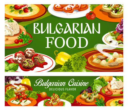 Bulgarian cuisine banners of vector meat and vegetable dishes with dessert. Pepper and beef soups, eggplant dip and lutenitsa with bread, bryndza zucchini toast, cinnamon bun, cabbage salad, meatballs Ilustração