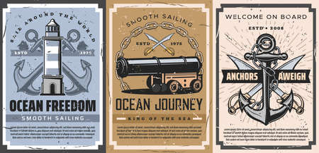 Nautical anchor and sailboat retro posters of vector sailing sport, marine travel and journey. Sea and ocean sail ships, anchors and chains, vintage lighthouse, swords, cannon and cannonballs