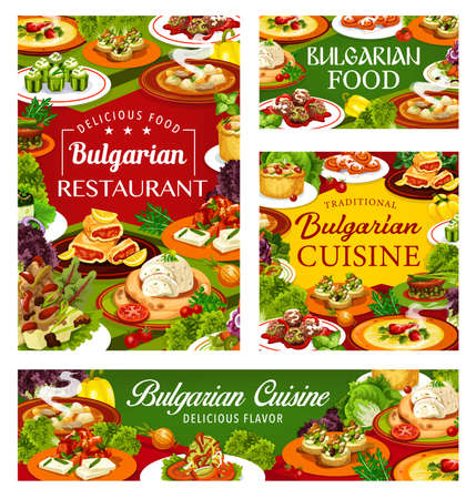 Bulgarian cuisine restaurant food. Vector vegetable soups and yogurt salads, meat stew, pepper lutenitsa and eggplant dip, bryndza zucchini toast, meatballs and buns, stuffed cucumbers and rabbit