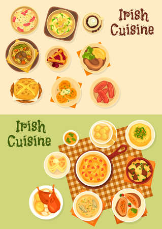 Irish cuisine food vector set of meat, vegetable and fish dishes. Potato salad, boxty and farl pancakes, beef beer stew, pork sausages and salmon soup, cabbage ham casserole, cherry pie and cookies