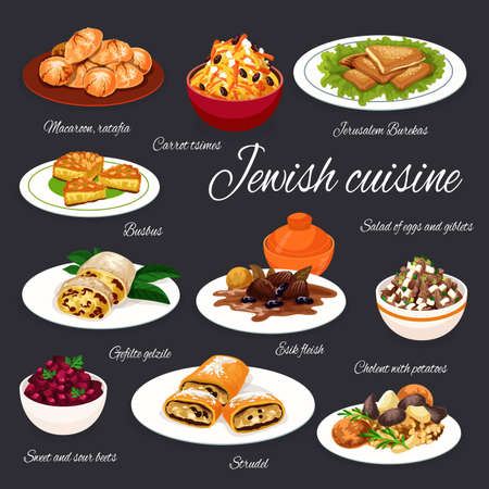 Jewish cuisine meat, vegetable dishes with desserts, vetor food. Potato cholent and beef with prunes, chicken giblets and beet salads, apple strudel, tsimes and almond cookies, cheese pastry and cake