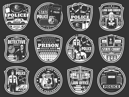 Law and order icons of vector police, law office, detective, prison and court design. Police officer, jail and court, judge gavel, sheriff badge, policeman cap and scale of justice, handcuffs and car