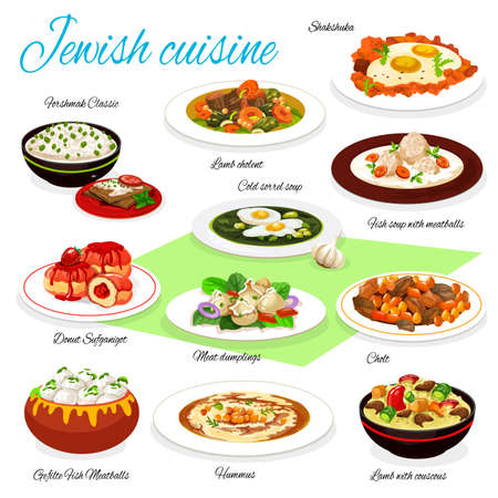 Jewish cuisine vector food of meatball fish soup, gefilte fish and hummus, eggs with vegetables, beef dumplings and lamb with couscous, forshmak, fruit donut and sorrel soup. Shabbat restaurant menu