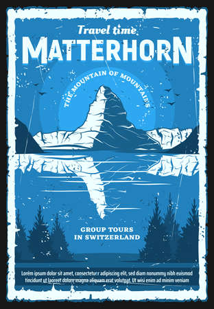 Swiss Alps Matterhorn mountain, vector travel and tourism of Switzerland, retro poster. Peak of Matterhorn mountain with snowy ridge, lake and forest trees, ski resort and mounteriing design