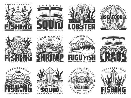 Fishing sport, fish and seafood isolated vector icons. Crab, squid, lobster, shrimp or prawn and fugu fish, fishing boat, net and fisherman tackle, anchor and seaweed monochrome symbols