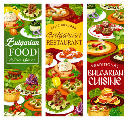 Bulgarian cuisine vegetable and meat food vector banners. Salads and soups with yogurt, cucumber, cabbage and beef, eggplant dip and pepper lutenitsa with bryndza, bread, meatball, rabbit, bun and pie