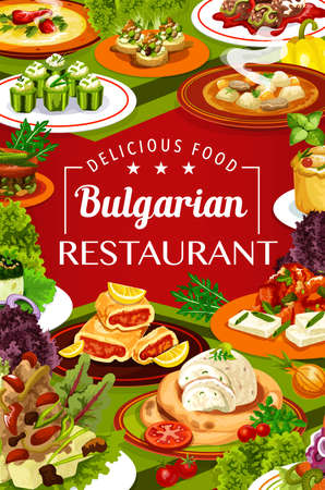 Bulgarian cuisine restaurant food with vector dishes of vegetable and meat soups, yogurt salad and pepper tomato chutney with bryndza. Stuffed cucumbers, eggplant dip, meatballs, lamb and fruit pies