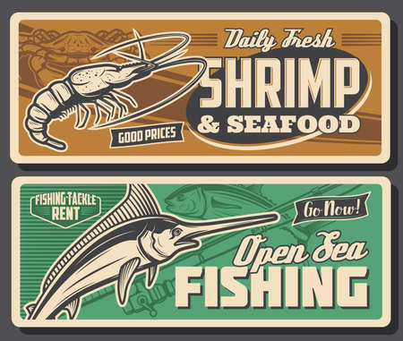 Sea fishing sport retro banners with vector fish, seafood and fisherman tackles. Fishing rod, marlin, tuna, crab and prawn or shrimp, outdoor hobby and fishery industry design