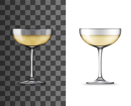 White wine glass or champagne coupe realistic vector mockup. Glass of sparkling wine alcohol drink isolated on transparent background, 3d glassware and tableware design for bar, winery or restaurant