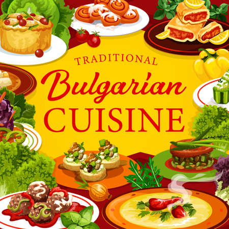 Bulgarian cuisine meat and vegetable food with fruit desserts, vector restaurant menu. Pepper soup, meatballs, stuffed cucumbers with bryndza, zucchini toasts, baked rabbit, buns and lemon cake Çizim