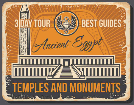 Ancient Egyptian travel landmarks with vector temples and monuments of Egypt. Valley of the King necropolis and Luxor obelisk with sacred scarab amulet retro poster of African tourism and travel tour  イラスト・ベクター素材