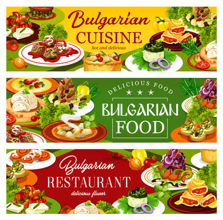 Bulgarian cuisine restaurant food vector banners. Vegetable and meat soups, bryndza cheese with pepper chutney lutenitsa, yogurt cucumber salad and eggplant dip, meatballs, lemon pie and cinnamon buns