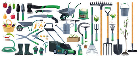 Garden tools and equipment cartoon set of vector agriculture, farming and gardening design. Spade, rake, shovel and pitchfork, trowel, watering hose and can, grass mower, wheelbarrow and pruners