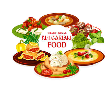 Bulgarian food vector design of meat and vegetable soups, tomato pepper chutney lutenitsa with bryndza, meatballs, eggplant dip with pita bread and lemon cake. Bulgarian cuisine restaurant menu