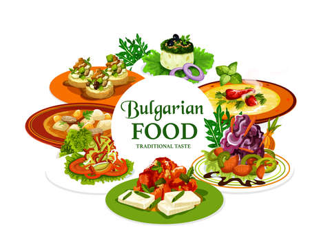 Bulgarian food vector design of meat, vegetable and cheese dishes. Yogurt cucumber and cabbage salads, pepper tomato chutney lutenitsa, zucchini toast with bryndza and beef soup, Bulgarian cuisine Illustration