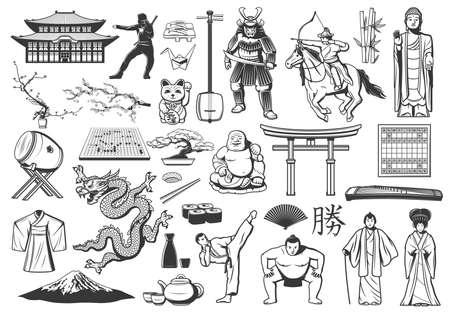 Japan vector icons with food, religion and culture symbols, Japanese sushi and mountain, pagoda and geisha, bonsai, origami, fan and samurai, dragon, kimono, sake and tea, sakura, Buddha