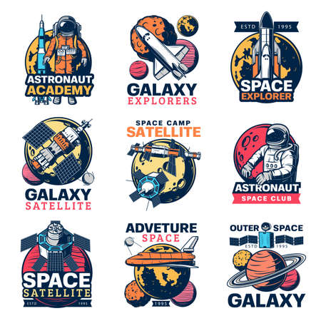 Space astronaut, spaceship and planet vector icons. Galaxy exploration satellite, rocket and spaceman, Moon, Earth and Saturn isolated symbols of space travel and astronomy science Vektorgrafik