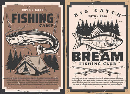Fish and fisherman rods, vector fishing sport. Bream and catfish fisherman catch with fishing tackle, bait, spinning reel and lure, camp tent and forest trees retro posters, sport club, outdoor hobby Illusztráció