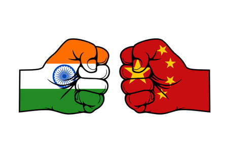 India and China confrontation flags fists, vector icons of conflict opposition face-off relationship. Indian Chinese international economics, national politics and military confrontation punch fists