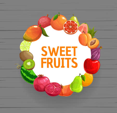 Fruits frame banner, vector watermelon and mango.