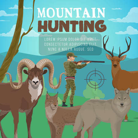 Mountain hunting, forest deer and wild animals, hunter with rifle. Illustration