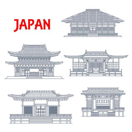 Japan buildings, Japanese temples, houses and pagodas architecture landmarks of Kamakura Kanagawa.