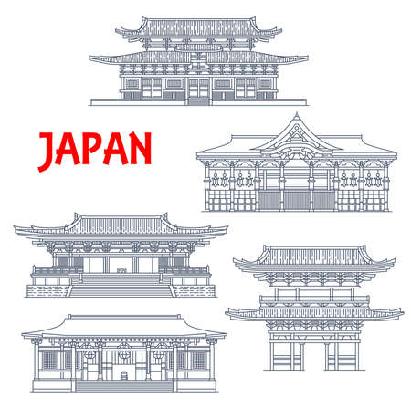 Japan buildings, Japanese temples, houses and pagoda towers, Buddhism religious architecture landmarks of Kyoto.