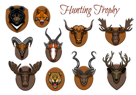 Hunting sport trophy, animal heads and antlers on wall wood plaque, vector icons.