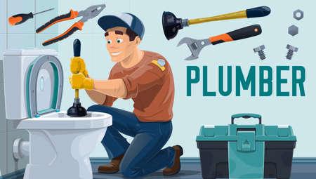 Plumber worker, toilet repair, water pipes plumbing, home bathroom maintenance service, vector.