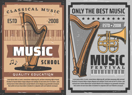 Musical instruments vector retro posters.